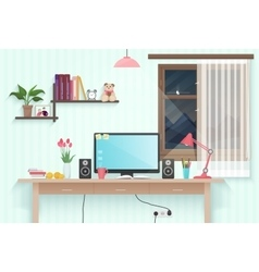 Modern teenager girl room with workplace Woman vector image vector image