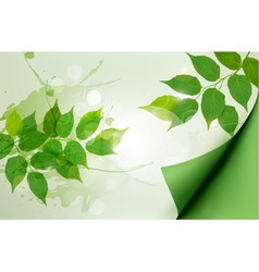 Nature background with green spring leaves vector image vector image