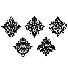 Set of vintage floral patterns and embellishments vector