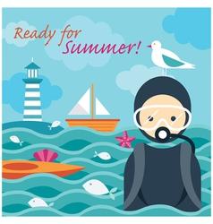 Summer Sea Diver in the Sea vector image