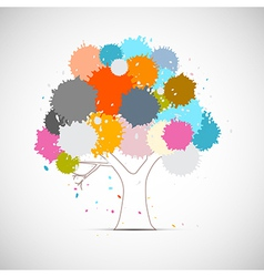 Abstract tree with colorful blots splashes vector