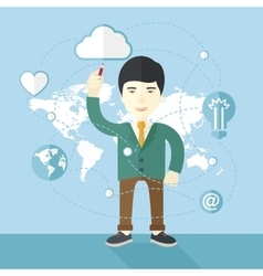 Businessman holding a pen making his presentation vector image