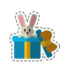 Cartoon cute rabbit hiding gift box surprise vector