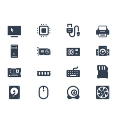 Computer hardware icons vector