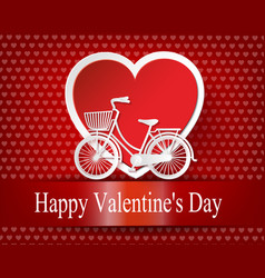 greeting card with bike and air balloons in heart vector image