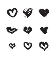 Hand drawn ink heart symbol set Abstract vector image
