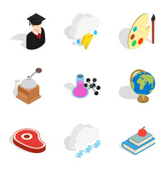 school year icons set isometric style vector image vector image