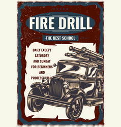 the vintage fire truck vector image
