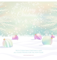 Christmas card with sparkles and balls vector image vector image
