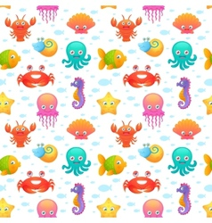 Cute sea animals seamless pattern vector