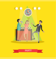 disco party in flat style vector image vector image
