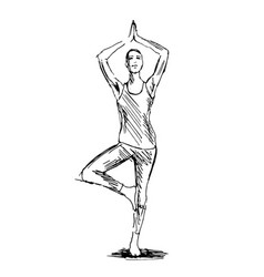 hand sketch woman practicing yoga vector image