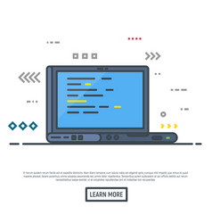 laptop with programming vector image