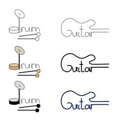 Set of guitar and drum logos vector