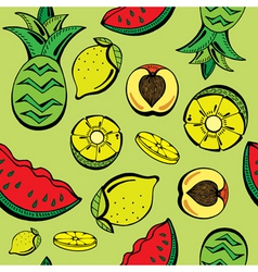 tropical fruits print vector image vector image