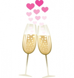 two glasses with heart vector image vector image