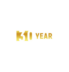 30 year happy birthday gold logo on white vector image
