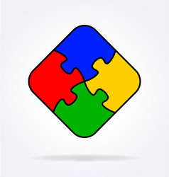 4 simple puzzle pieces connected together vector