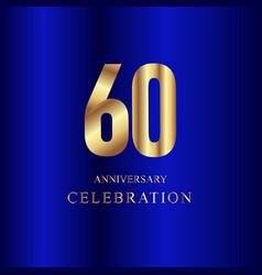 60 year anniversary celebration gold blue vector