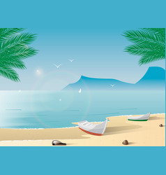a boat on a tropical beach summer holiday on the vector image