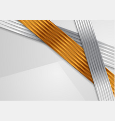 Abstract corporate bronze and silver striped vector