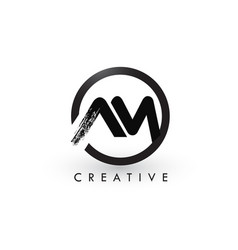 Am brush letter logo design creative brushed vector