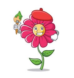 artist pink flower character cartoon vector image