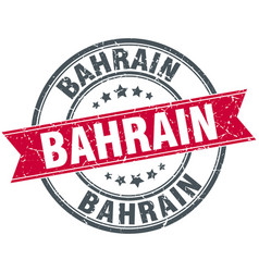 Bahrain red round grunge vintage ribbon stamp vector