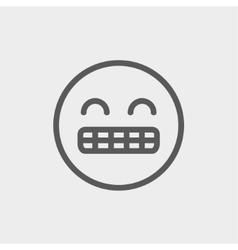 Big tooth smile thin line icon vector image