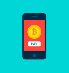 Bitcoin mobile pay concept vector