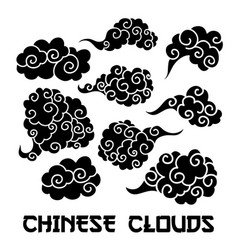 Black clouds and wind blows silhouettes vector