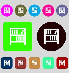 Bookshelf icon sign 12 colored buttons Flat design vector