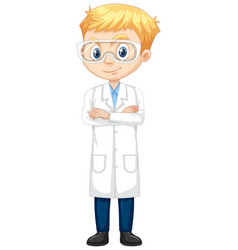 Boy in lab gown on isolated background vector