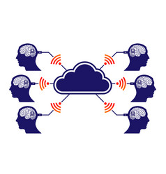 brain in head cloud connection vector image