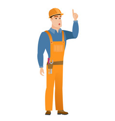 builder with open mouth pointing finger up vector image