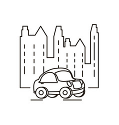 buildings cityscape with car scene vector image