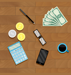 Calculation money top view vector