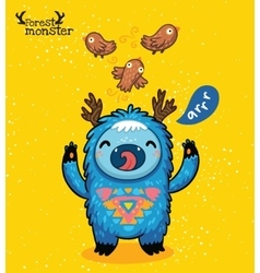 Cartoon cute blue monster on yellow background vector image