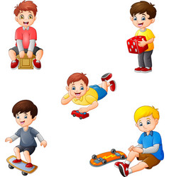 cartoon kids with different hobbies collection set vector image