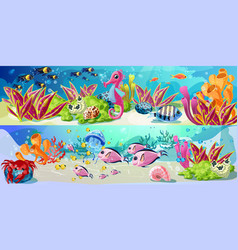 Cartoon marine underwater life horizontal banners vector