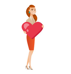 Caucasian business woman holding a big red heart vector