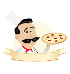 chef pizza restaurant banner vector image