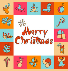 christmas greeting card a set of images for xmas vector image