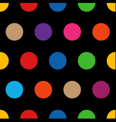 Colorful rainbow polka dots on black background vector