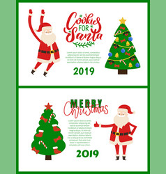 cookies for santa merry christmas greetings 2019 vector image