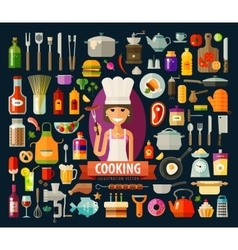 Cooking logo design template food vector
