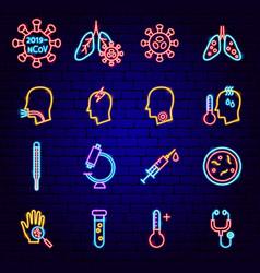 coronavirus neon icons vector image