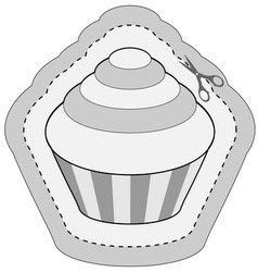 Coupon sticker with cupcake vector