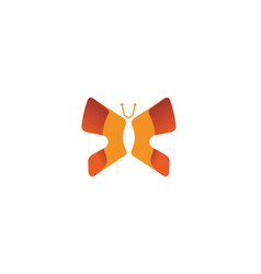 creative abstract orange butterfly logo vector image