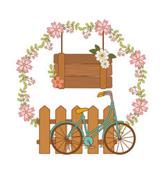 Cute bicycle retro with fence and flowers vector